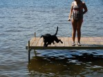 Gaddy enjoys jumping from the dock